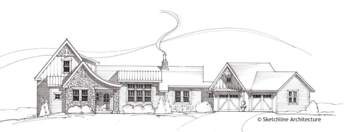 Gretels Haus - Front elevation sketch - Sketchline Architecture